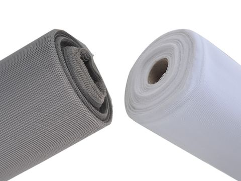 There are two polyester mesh rolls whose color is gray and white from left to right.