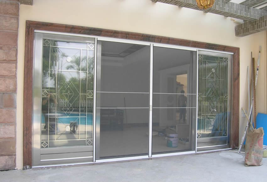 Security screens are installed on the door.